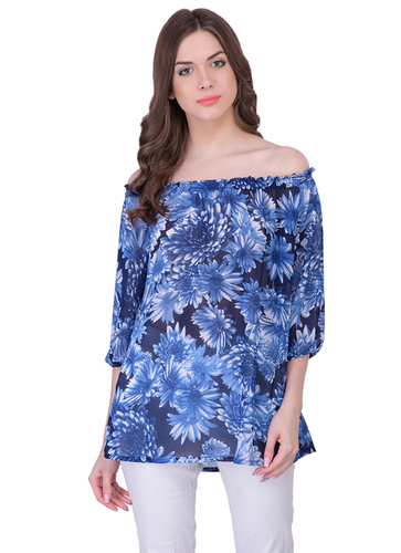 Ladies Blue Flower Tops