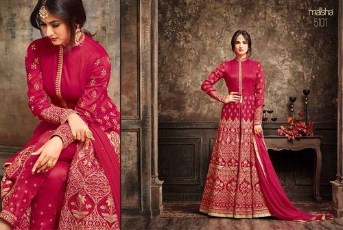 Dark Pink Heavy Designer Gown