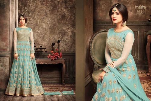 Sky Blue Heavy Designer Bridal Gown