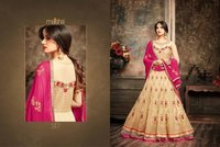 Peach Color Resham Work Designer Gown