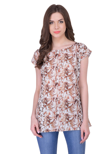 Ladies Brown Flower Designer Tops