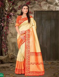 South Silk Cream and Red Saree
