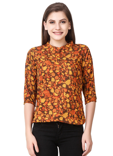 Orange Flower Design Tops