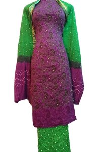 Bandhani with Stone Unstitched Salwar Suit