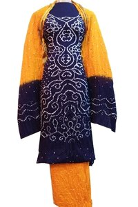 Blue Bandhani Unstitched Salwar Suit