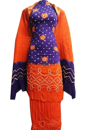 Orange and Blue Bandhani Unstitched Salwar Suit