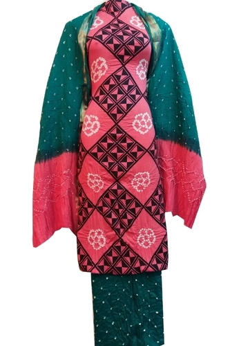 Printed with Hand Bandhani Unstitched Salwar Suit