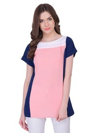 Peach Plain Party Wear Tops