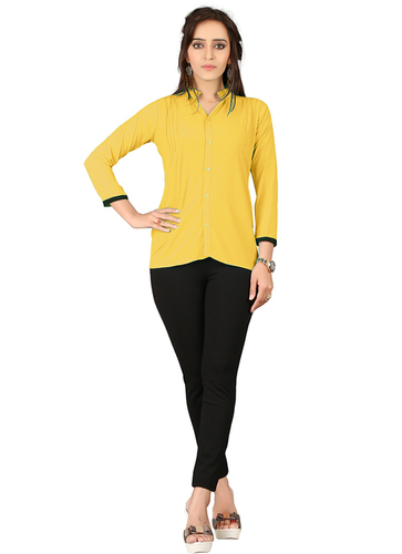 Georgette Yellow Casual Wear Tops