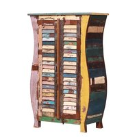 Reclaimed wood bedside cabinet with two doors