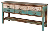 Reclaimed wood sideboard with 6 drawers storage