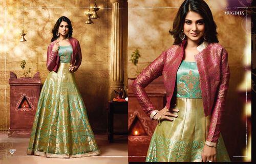 Green Banarsi Silk Designer Gown