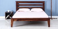 Handcrafted Queen Bed in Walnut Finish by Wudstuk