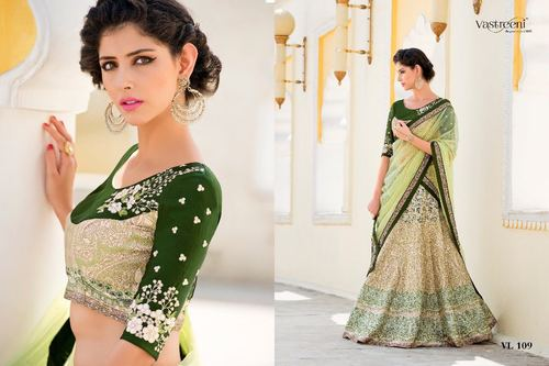 Green Embroidery Work Digital Print Lehenga Choli