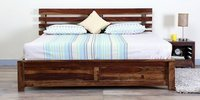 Handcrafted King Bed with Storage in Walnut Finish