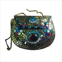 Handmade mosaic multicolor clutch cum sling bag