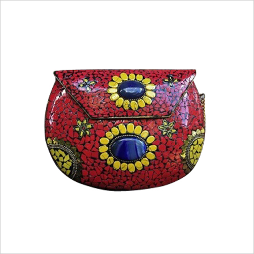 Handmade mosaic multicolor metal clutch cum sling bag