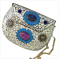 handmade mosaic white metal clutch cum sling bag