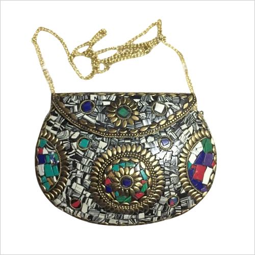 Handmade mosaic multicolor clutch cum sling bag