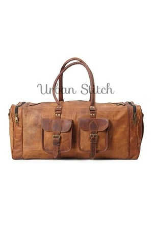 Handmade Pure Leather Natural Tanned Duffel Bag