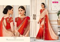 Red And Off White Shaded Designer Saree