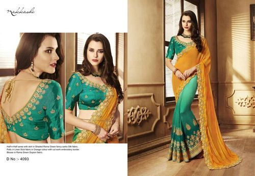 Half N Half Satin Embroidery Cut Work Saree