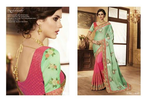 Multy Thread And Embroidery Work Party Werar Saree
