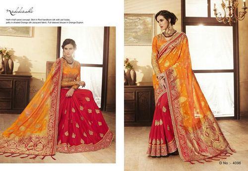 Shaded Orange Handloom Zari Embroidery Saree