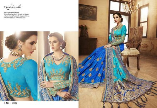 Blue Heavy Embroidery Work Party Wear Saree
