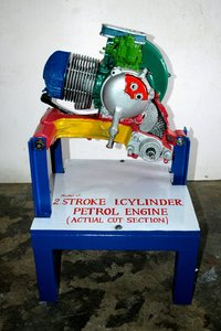 2 stroke single cylinder petrol engine or scooter engine ( actual cut sectional )