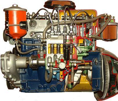 4 stroke 4 cylinder diesel engine ( hand driven actual cut-sectional )