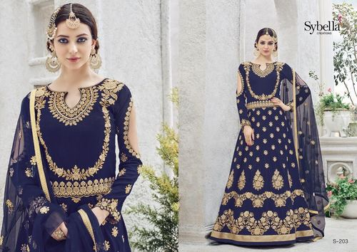 Long Anarkali Zari Embroidery Work Suit