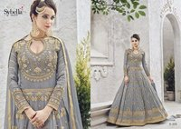 Grey Silk Embroidery Designer Party Wear Suit
