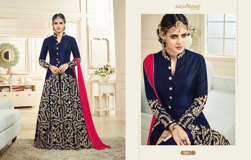 Blue Silk Designer Anarkali Party Wear Salwar Suit