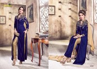 Blue Velvet Front Cut Salwar Suit
