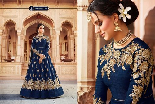 Blue Pure Silk Embroidery Work Designer Gown