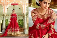 Red Pure Silk Designer Gown