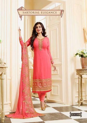 Pink Georgette Embroidery Work Salwar Suit