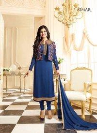 Blue Jacket Embroidery Designer Salwar Suit