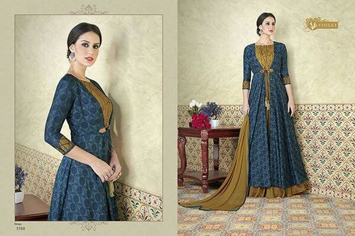 Tussar Silk Party Wear Gown