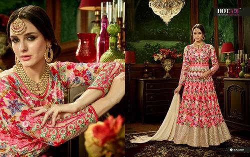 Multi Color Heavy Embroidery Work Anarkali Suit