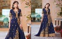 Blue Tafeta Silk Heavy Party Wear Suit