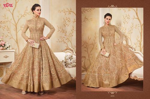 Golden Designer Party Wear Gown