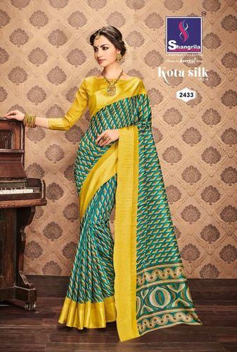 Yellow Border Designer Printed Saree