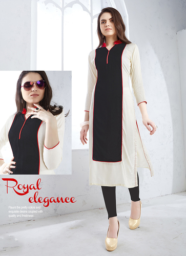 Black Cream Long Straight Kurti