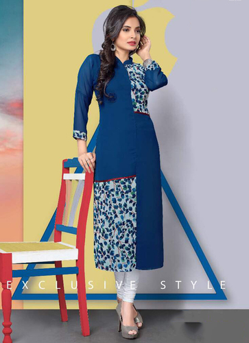 Blue Long Straight Kurti
