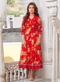 Red Color Angrakha Kurti