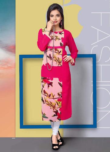 Pink Printed A-line kurti