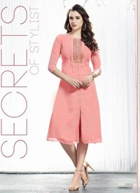 Peach Embroidered Kurti