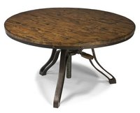 Industrial reclaimed wood round top coffee Crank table